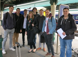The road trip team, at a train station. Shouldn't this be a rail trip?