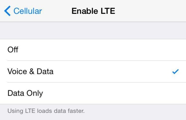 Don't forget to activate Voice access on 4G (LTE) [Screen from US iPhone]