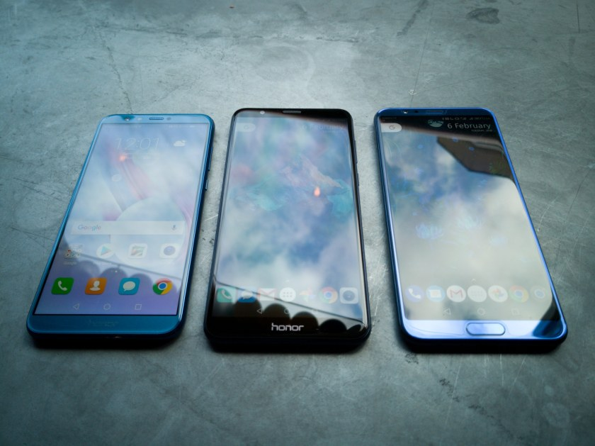 Left to right: Honor 9 Lite, Honor 7X and Honor View 10